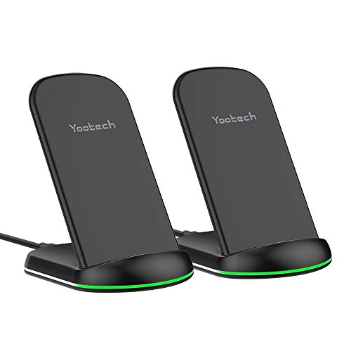 Yootech Wireless Charger,[2 Pack] 10W Max Qi-Certified Wireless Charging Stand,Compatible with iPhone SE 2020/11 Pro Max/X/8,Galaxy S21/S20/Note 10/S10 Plus(No AC Adapter)