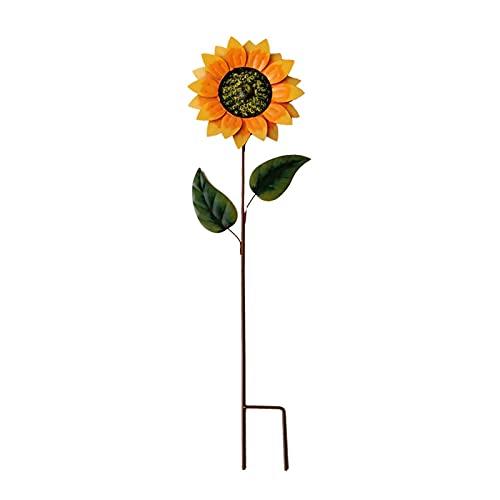 Firlar Sunflower Spinning Windmill, 31.49In Metal Sunflower Lawn Pinwheels Sunflower Statement Windmill Floral Sculptures Spinner Garden Pinwheel Wind...