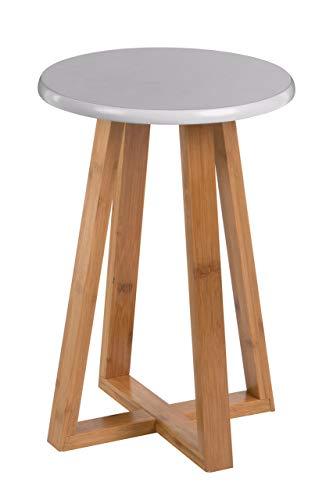 Premier Housewares Viborg Runder Hocker, Bambus, grau