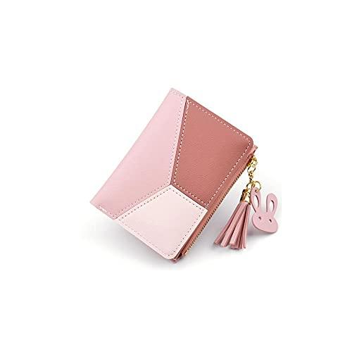 Hanpiyignvqb Cartera Monedero Mujer, Cartera de Damas, Estilo Corto, con diseño de tasel con Cremallera, Elementos de Contraste de Costura, Espacio Incorporado Grande (Color : Pink)