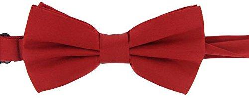 David Van Hagen Plaine rouge satin de soie cravate - déjà-nouée de