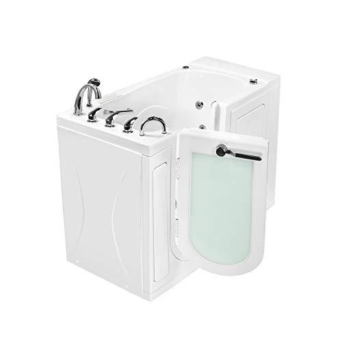 Ella OA3052DH-L-D Capri Air and Hydro Massage Acrylic Walk-in Bathtub, Outward Swing Door, Thermostatic Faucet, Digital Control, Heated Seat, Left 2' Drain, 30'x 52', White