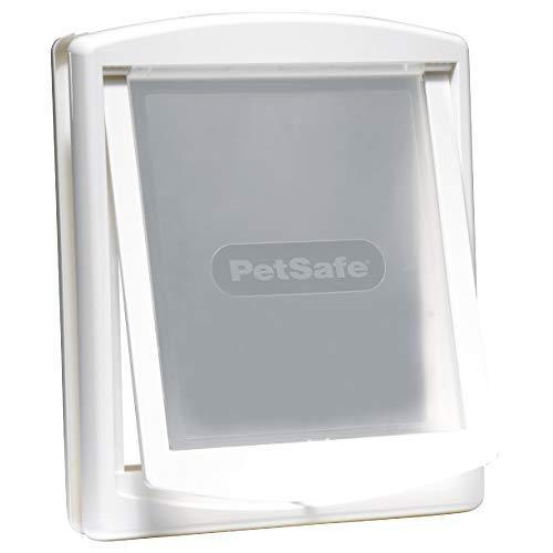 PetSafe – Chatière pour chien et chat Originale Staywell, 2 voies d'accès – entrée et sortie - Porte pour animaux. Résistante, Rigide, Panneau de Fermeture Inclus – Blanc (L)