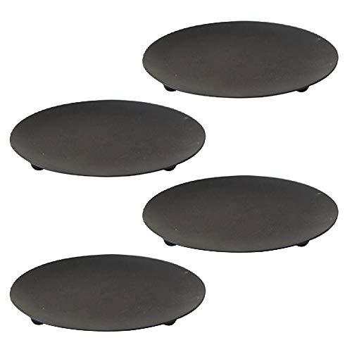 CXZC Juego de 4 portavelas de metal, color negro, 10 cm de diámetro, base decorativa para velas LED y de cera, conos de incienso, spa, bodas