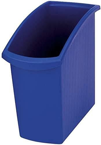 HAN Papelera Mondo 1840-14, 3 unidades, muy elegante y delgada, 18 litros, ahorra espacio bajo el escritorio, color azul