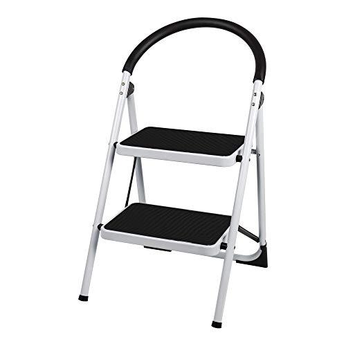 STIER Trittleiter mit 2 Stufen aus Stahl, Tragfähigkeit 150 kg, mit Anti-Rutsch-Stufen, mit Sicherheitsbügel, zusammenklappbar, Tritthocker, Klapptritt, Stufenleiter