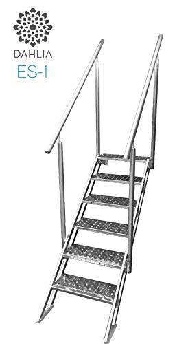 Escalera de Piscina de Facil y Seguro Acceso de Acero Inoxidable con Escalones Antideslizantes de 60cm Regulable para Todo Tipo de Piscinas.