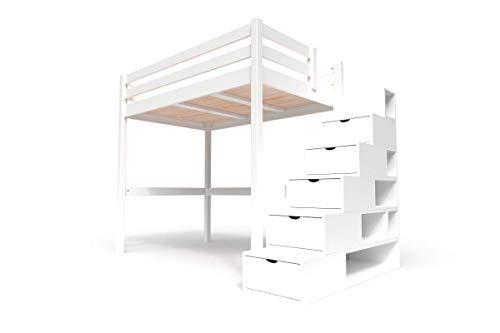 ABC MEUBLES - Hochbett Sylvia mit Treppenregal Holz - Cube - Weiß, 120x200