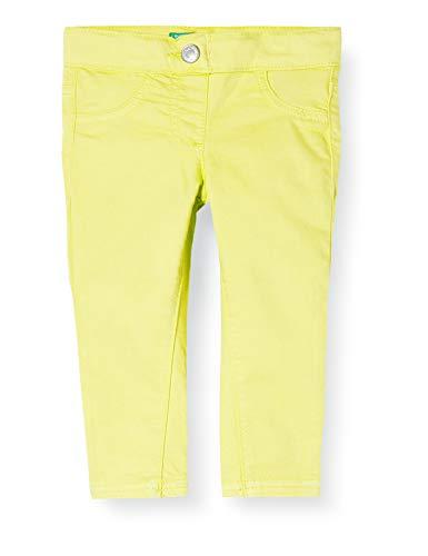 United Colors of Benetton Pantalones, Amarillo (Limeade 28m), 80/86 (Talla del Fabricante: 1Y) para Bebés