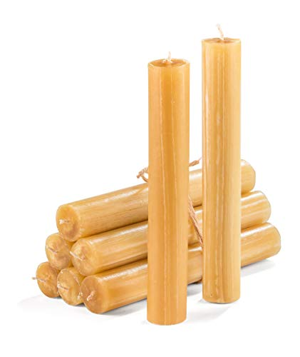 Set of 9 Emergency Utility Candles in Rustic Design and Taper Pillar Shape 7'x1' Unscented Household Candlesticks