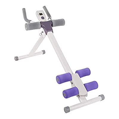 Qazqa Fitness Height Adjustable Ab Vertical Trainer Abdominal Device Whole Body Workout Machine Waist Cruncher Core Toner, Leg, Thighs, Buttocks Shaper Equipment with LCD Monitor