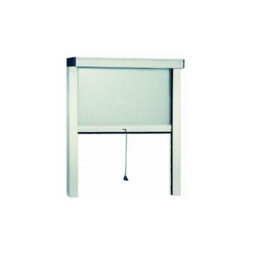 GrecoShop Zanzariera a Rullo in Alluminio per finestre con Profilo riducibile/Regolabile avvolgimento Verticale con Frizione 140x170 Bianca