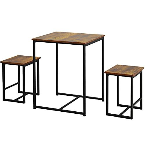 ADFBL Juego de mesa de comedor con 2 taburetes 3 marco de acero de madera estilo industrial retro mesa de comedor