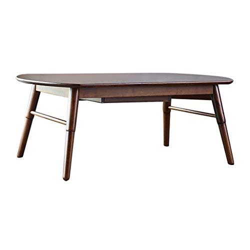 Tables basses, Ovale en Bois Massif avec tiroir Meubles en chêne Minimaliste Moderne Salon Table à thé de Stockage (Color : Brown, Size : 46 * 60 * 120cm)