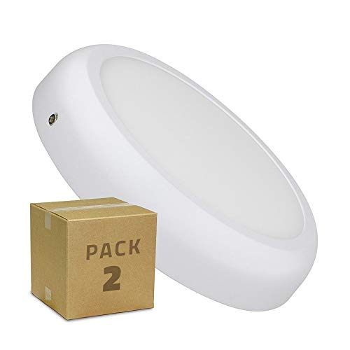 LEDKIA LIGHTING PACK Plafonnier LED Rond Design 18W White (2 Un) Blanc Neutre 4000K - 4500K