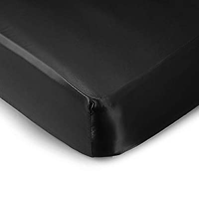 Pro Goleem Satin Soft Crib Sheet Great for Baby with Sensitive Hair Silky Baby Mattress Sheet Black 52''x28''x8'' Unisex Fitted Sheet Gift for Boys and Girls Best for Summer
