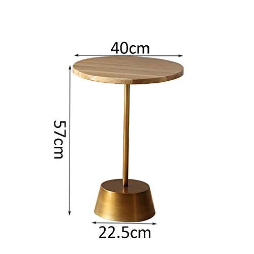 table basse ronde bois massif métal moderne chambre simple chevet canapé coin (taille : 40cm*57cm)