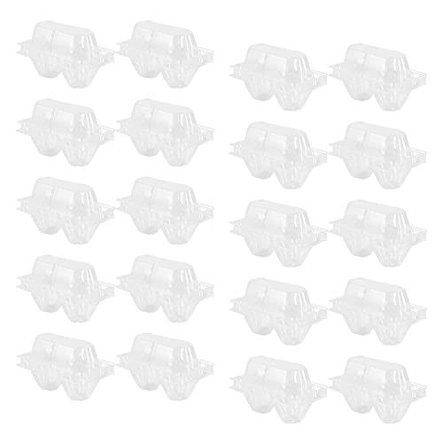 Cabilock 100 Piezas de Cajas de Plástico Transparente para Huevos 2 Bandejas de Plástico para Huevos Contenedor de Almacenamiento para Alimentos de Cocina Mercado de Alimentos para Los