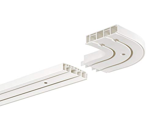 HUGG-Vorhang-Schiene (VS.380.22) 1-/ 2-/ 3- Lauf, Decken-Montage, Ihre Auswahl: 2-Lauf mit 2 Rundbögen - Länge: 300 cm (2X 150cm)