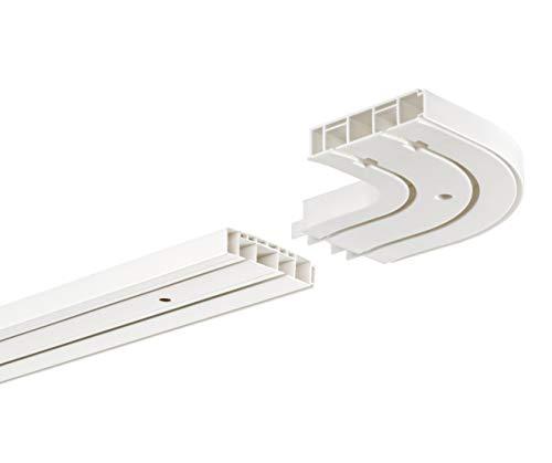 HUGG-Vorhang-Schiene (VS.380.22) 1-/ 2-/ 3- Lauf, Decken-Montage, Ihre Auswahl: 2-Lauf mit 2 Rundbögen - Länge: 200 cm (2X 100cm)