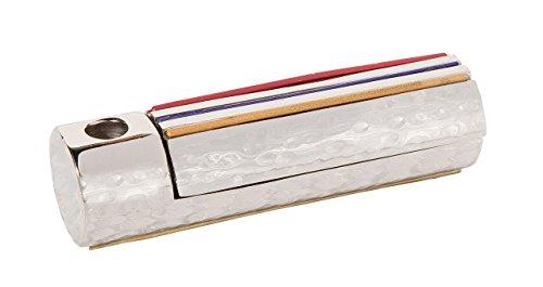 Yair Emanuel Folding Travel Hanukkah Chanukah Menorah Hammered Metal Multicolor (HTM-1)