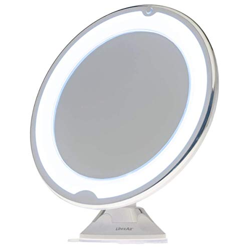 LitezAll Vanity Makeup Mirror - 10x Magnifying Mirror with Light, Battery Powered Portable Suction Cup Base for Travel, Table Mirror That Swivels in Any Direction for Women