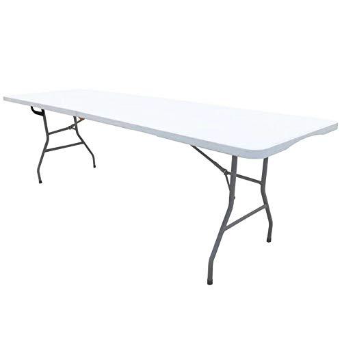 Werkapro Table Pliante de Jardin Extérieur, Traiteur Rectangulaire Portable avec Pieds en Acier-239cm x74cm x74 cm-pour 10 personnes-11345, Gris Clair, 239 cm x 74 cm x 74 cm