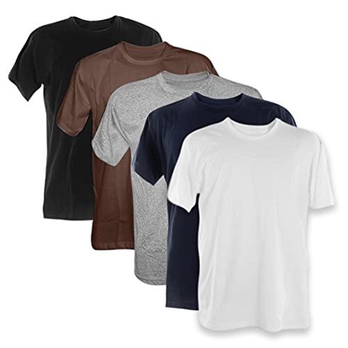 Kit 5 Camisetas Masculinas Básicas 100% Algodão Penteado (Preto, Marrom, Mescla, Azul Marinho, Branco, M)