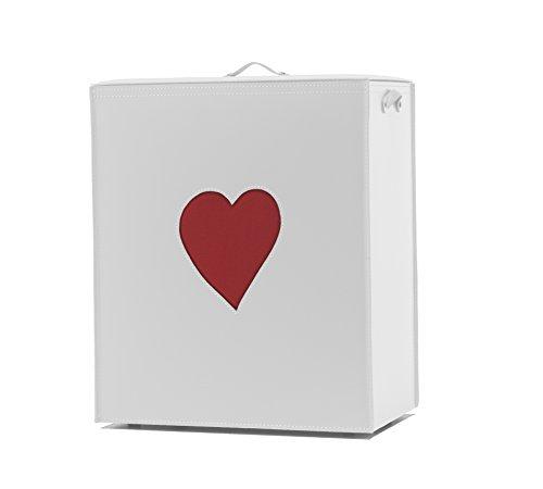 Adele: Panier à Linge en Cuir Couleur Blanc, avec Un Coeur Rouge, avec Sac à Linge Amovible, Rangement et Organisation Made in Italy by Limac Design®