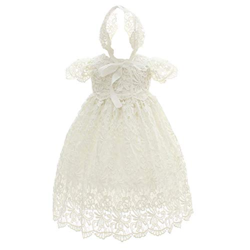 Moon Kitty Baby Girl Special Occasion Dress 2PCS Christening Baptism Gowns Girls Hollow Long Dress,White,3M(2-6Months)