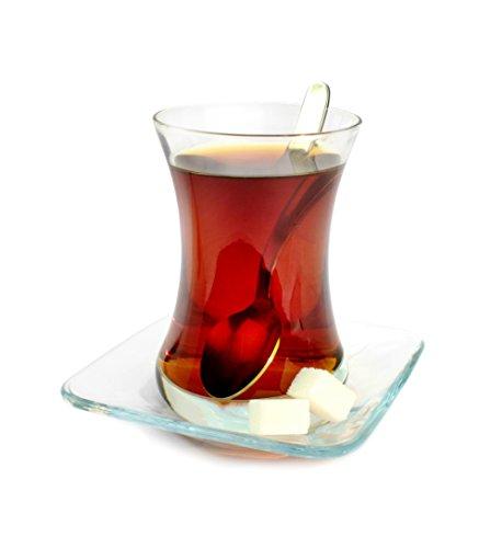 Topkapi - 18-TLG Türkisches Tee-Set Filiz-Sultan, 6 Teegläser, 6 Untersetzer, 6 Teelöffel, Komplett-Set