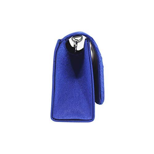 Moda mujer Pure Color Ruched Cocktail Party Bag Chain Phone Bag bolso de noche pequeo imn bolso de disfraz diario para mujer, Azul (azul), Long26cmLarge4.5cmHaute10