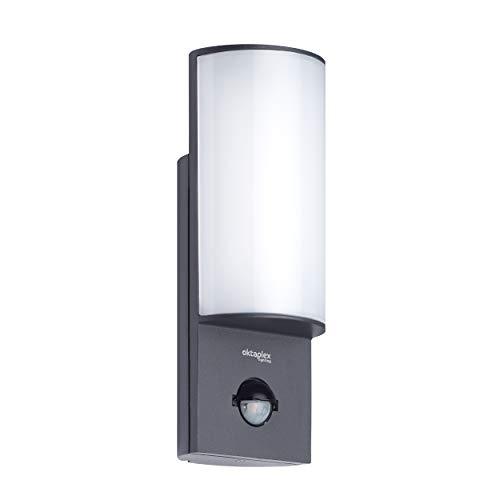 Oktaplex Lighting LED Aussenleuchte mit Bewegungsmelder Belo 10W | Alu Außenlampe IP54 anthrazit Wand Außen | Außenwandleuchte Sensor 3000K Warmweiß