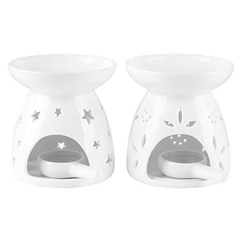 Cskunxia Aroma Diffuser Tealight mit Candle Holder,Keramik ätherische Duftlampe Aromalampe,2 Stück