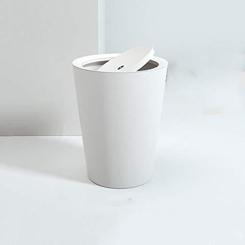 liushop Cubo de Basura La Basura doméstica Puede sacudir la Tapa Creativa Simple baño Grande Sala de Estar Dormitorio Bote de Basura Bote de Basura (Color : White)