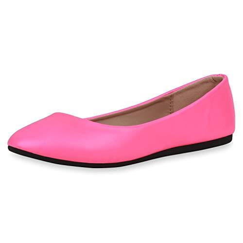 SCARPE VITA Damen Klassische Ballerinas Leder-Optik Schuhe Slipper Freizeitschuhe Slip On Flats Flache Abendschuhe 188413 Neon Pink 39