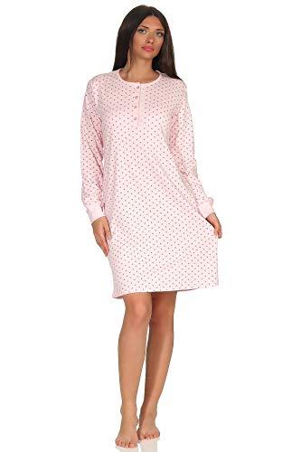 NORMANN WÄSCHEFABRIK Kuscheliges Damen Nachthemd Langarm mit Bündchen in Tupfen - Punkte Optik - 291 213 96 232, Farbe:rosa, Größe2:36/38