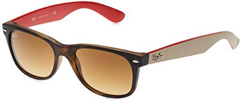 Ray-Ban Unisex New Wayfarer Sonnenbrille, Mehrfarbig (Gestell: Havana/Braun, Gläser: Braun Verlauf 618185), Large (Herstellergröße: 55)
