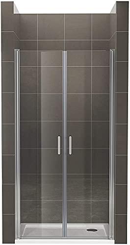 Moments of Glass Mampara de ducha 79x190 cm rango de ajuste de 79-82 cm, altura: 190 cm, vidrio de seguridad ESG con nano transparente de 6 mm con perfiles de aluminio - AC