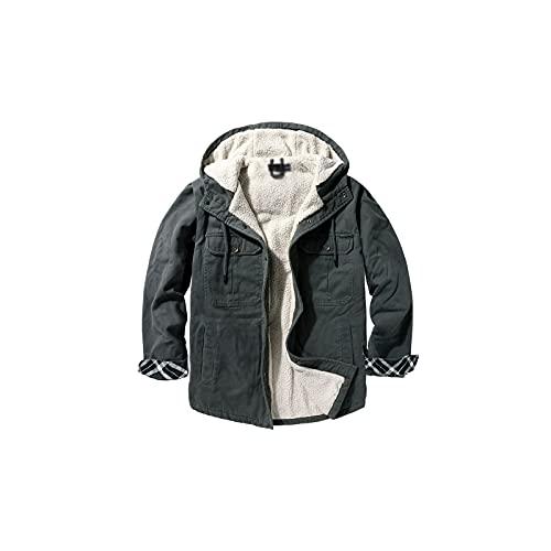 Wzdszuiljk Chaqueta, Cuello de Piel Gruesa Chaquetas Hombres Invierno Otoño Hombre Fleece Parkas Moda Abrigos a Prueba de Viento Abrigos de cálido Masculino Más Velvete (Color : Grey, Size : Large)