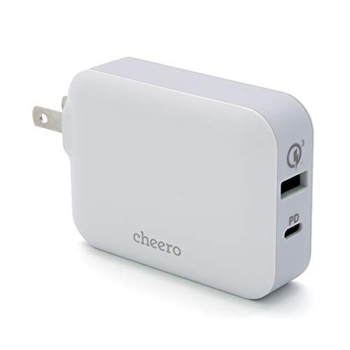USB 充電器 Power Delivery & Quick Charge 3.0 対応 アダプタ cheero Smart USB Charger 48W 2台同時充電 / パワーデリバリー : 30W / QC3.0 : 18W / コンパクト ・ 軽量