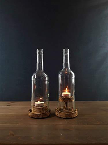 Weinflaschen - Windlicht Duo #1 Rustikal
