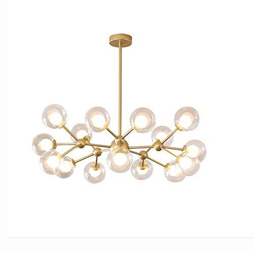 WGFGXQ Modern Branches Sputnik Branch Lámpara Colgante, G9 Bubble Glass Ball Luces Colgantes Firefly, Luces de Techo LED para Sala de Estar Comedor Dormitorio-Dorado 15 Cabezas
