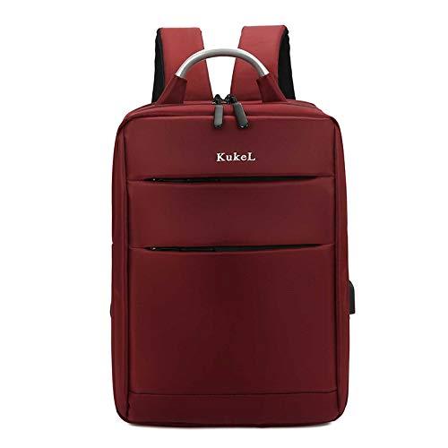 UKKO Multifunctional Men'S 15.6-INch Laptop Backpack Trendy Schoolbag Backpack Business Travel Daypacks Male Leisure Backpack Red