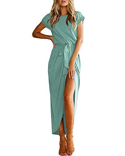 YOINS Sommerkleid Damen Lang Maxikleider für Damen Strandkleid Sexy Kleid Kurzarm Jerseykleider Strickkleider Rundhals mit Gürtel Mintgrün S
