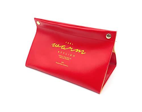 ほうねん堂 ティッシュケース アンティーク pu皮革 ティッシュカバー レザー ティッシュボックス (レッド)