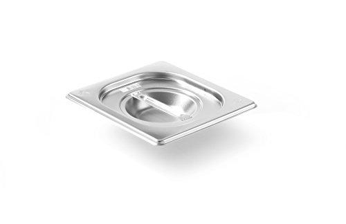 HENDI Gastronorm Deckel, für Gastronormbehälter, Temperaturbeständig von -40° bis 300°C, Heissluftöfen-Kühl- und Tiefkühlschränken-Chafing Dishes-Bain Marie, Stapelbar, GN 1/6, 176x162 mm, Edelstahl