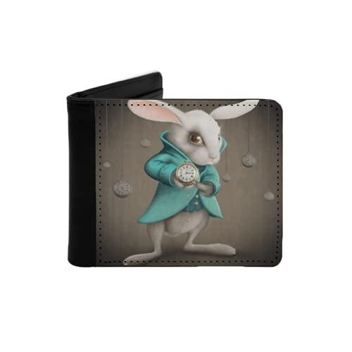 Cartera Delgada de Cuero para Hombre,Conejo White Elegance Indica el Reloj,Cartera Minimalista con Bolsillo Frontal Plegable