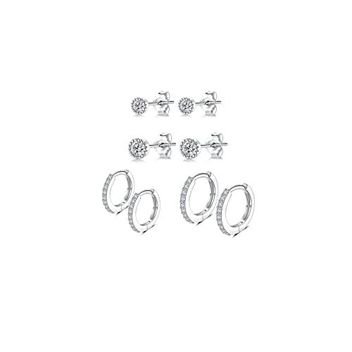 Pendientes para mujer de plata 925, pendientes aro Huggies, 2 pares (8 mm/10 mm), pequeños (3 mm/4 dormir con circonitas, joyas hombre, y niña