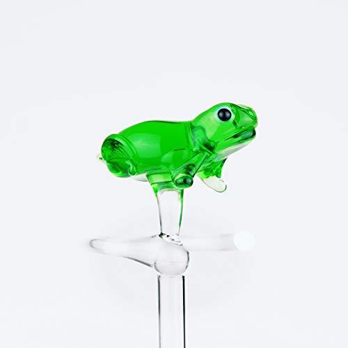 Orchideenstab aus Glas mit Frosch grün Blumenstab Rankhilfe Lauscha Handarbeit
